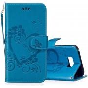 Para Samsung Galaxy S8 + / G955 Flores Prensadas Mariposa Amor Patron Horizontal Flip Funda De Cuero Con Soporte Y Ranuras Para Tarjetas Y Billetera Y Lanyard Y Photo Frame (azul)
