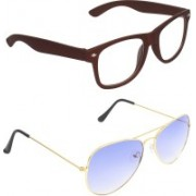 Zyaden Wayfarer, Aviator Sunglasses(Clear, Blue)