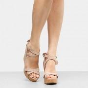 Sandália Plataforma Couro Shoestock Laço Feminina - Feminino