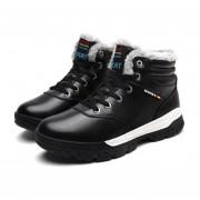 Fashion Plus Velvet Men Shoes Anti-skid Rubber Sole Winter Warm Casual Shoes Black