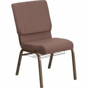 Flash Furniture Fabric Church Chair with Book Rack - Brown Dot w/Gold Vein Frame, 19 1/4Inch W x 25Inch D x 33 1/4Inch H, Model FCH185GVBNDTB