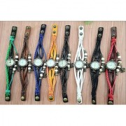 E CHOICE NEW BRAND nded Green Leather Strap Watch Hand-knitted Leather watch women' watches