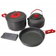 EH Senderismo al aire libre Cocinar la comida campestre Utensilios de cocina Pan Pot Hervidor Paño de cocina Set portátil