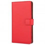 Bolsa em Pele para Sony Xperia Z5, Xperia Z5 Dual - Tipo Carteira - Vermelho