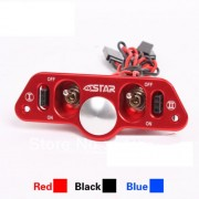 Generic Blue : F08028 Brand Heavy Duty Metal Dual Power Switch with Fuel Dot Red for RC Helicopter Car Boat Aircraft Engine Part