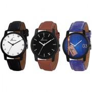 Jack Klein Combo of Elegant Stylish Black Brown Blue Strap Multi- Color Dial Analogue Wrist Watch