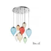 Corp de iluminat din sticla suflata si prelucrata manual sub forma de balon multicolor 8x40W