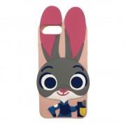 Husa iPhone 7 Plus si iPhone 8 Plus Silicon 3D Urechi Iepuras Pink