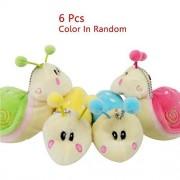 KateDy 6 PCS Cute Snails Plush Toys Warm Stuffed Animals Bag Hangers Keychains Baby Kids Lovers Keychain Toys