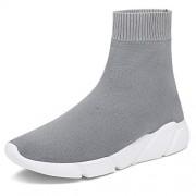 TANTOO Zapatillas de Deporte Ligeras, para Hombre y Mujer, de Punto, elásticas, Informales, atléticas, para Correr, Gris, 7.5 Women/7 Men