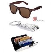 Ediotics Classic Brown Wayfarer Style Designer Sunglasses & Jaguar Silver Chrome Plated Keychain & Alumi Wallet Combo