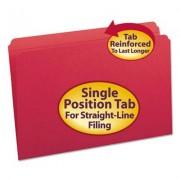 File Folders, Straight Cut, Reinforced Top Tab, Legal, Red, 100/box