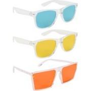 NuVew Wayfarer, Retro Square Sunglasses(Green, Yellow, Orange)