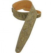 Levy's Leathers PMS44T01-GRN 3-inch Suede-Leather Guitar Strap Tooled with an Acorn and Oak-leaves Pattern Green