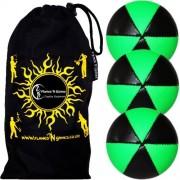 Flames N Games Astrix Uv Thud Juggling Balls Set Of 3 (Black/Green) Pro 6 Panel Leather Juggling Ball Set & Travel Bag!