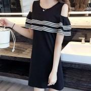Vestido Casual E-Thinker para mujer con borde de volante y rayas - Negro