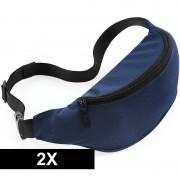 Bagbase 2x Heuptasjes/buideltasjes navy blauw 38 cm