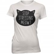 Womens Slogan Collection Camiseta Stop Stressing Meowt - Mujer - Blanco - XL - Blanco