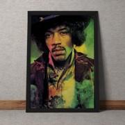 Quadro Decorativo Jimmy Hendrix Colorido Vintage 35x25