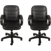 Mezonite Medium Back Set of 2 Black Leatherette Office Executive Chair