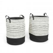 Kave Home Conjunto Kamori de 2 cestas , en Tecido - Preto
