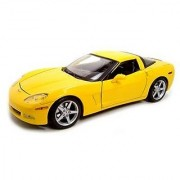 Maisto Die Cast 1:18 Scale Yellow 2005 Chevrolet Corvette Coupe