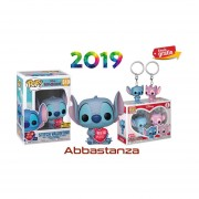 Set 2 piezas stitch valentine y llavero de stitch y angel Funko pop