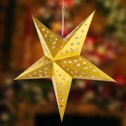 Gold-coloured paper star X-Mas 3D with LEDs
