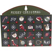 Green Peace Joy Noel Believe Countdown to Christmas Box Wooden Advent Calendar