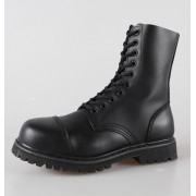 cipő bőr 10 lyukú Brandit - Phantom Black - 9002/2