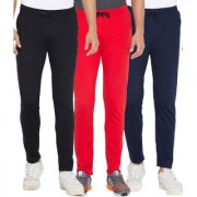 Cliths Red Black And Navy Blue Slim Fit Solid Cotton Track Joggers for Men (Pack Of 3)