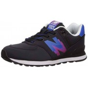 New Balance Boys' Iconic 574 V1 Running Shoe, Black/Vivid Cobalt, 2 W US Infant
