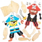 Baker Ross Pirate Wooden Puppet Kits - 4 Wooden Puppets On String. Wooden Pirate Marionettes. Size 24cm.
