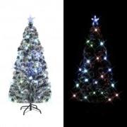 vidaXL Изкуствено коледно дърво със стойка/LED, 150 см, 170 клона