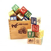 ToyTree (TM) Alphabet & Number Non-Toxic Wooden ABC And 1234 Building Blocks (27 Wood Blocks, Block Size 3Cm Cube) with Box Storage Case