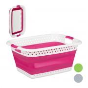 relaxdays opvouwbare wasmand - plastic - kunststof - mand voor wasgoed - inklapbaar - 50 L roze