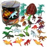 Dinosaur Action Figures - Big Bucket of Dinosaurs - Huge 30 Piece Set Full of Unique Fun