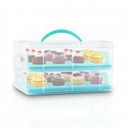 Klarstein USS Blue Cookie, преносима кутия за сладкиши, синя, на 2 етажа , с 2 тави и 1 дръжка (BAK1-USSBlueCookie)