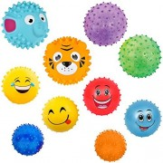 10 Sensory Balls Pack | Fun Balls for Kids and Toddlers | Spiky, Bumpy, Bouncing, Squishy, Emoji, Animal | NOTE: 4 and 5 Balls Shipped Deflated with Needle Inflator; 3 Ball Inflated | by Mr. E=mc