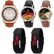 Jack Klein Combo of 3 Stylish Analog Watches And 2 Black Led Watch
