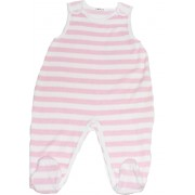Salopeta bebe roz cu alb-12 luni