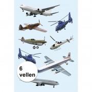 Merkloos Stickervellen verschillende vliegtuigen 6x