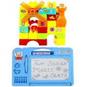40 pcs. Building Blocks with drawing writing Double Side Magic Slate( multicolor )