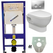 Toiletset Hangend 100-3 Geberit UP100 Inbouwreservoir Glans Wit Wandcloset Softclose Toiletbril Delta-21 Bedieningsplaat Mat Chroom