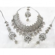New Bollywood Costume Bridal Silver Plated Zerconic Kundan Jewelry Necklace Set