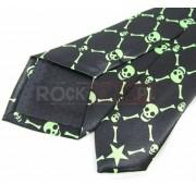 Krawat czarno zielony - CZASZKI PISZCZELE