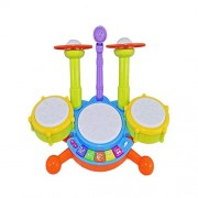 Sita Ram Retails-Drumming Toys for Baby Kids Touch Electronic Drum Set Big with Flashing Lights Size : 40 x 23 x 30 cm.