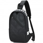 Men Chest Bag Oxford Shoulder Strap Bag Casual Sports Backpack Messenger Bag - Inclined Zipper / Black
