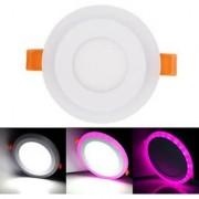 Snap Light 6 watt (3+3) LED Round Panel Light Ceiling POP Down Indoor Light LED 3D Effect Lighting (Pink White)