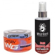 MISTER BEARD ARGAN HAIR OIL WITH GATSBY EXTREME LEVEL 7 WATER GLOSS HYPER SOLID GEL
